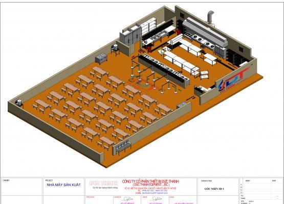 mặng bằng 3D bố trí nhà ăn bếp công nghiệp